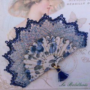 Broche Abanico Azules - Encajes Artesanos - El Arte al alcance de tus manos