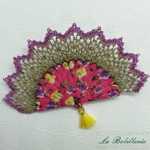 Broche Abanico Flores Dorado - Encajes Artesanos - El Arte al alcance de tus manos