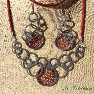 Conjunto Collar y Pendientes Círculos - Encajes Artesanos - El Arte al alcance de tus manos