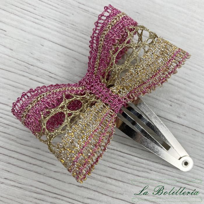 Horquilla Lazo Rosa - Encajes Artesanos - El Arte al alcance de tus manos