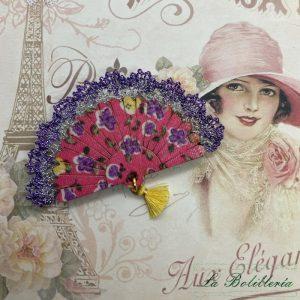Broche Abanico Flores Moradas - Encajes Artesanos - El Arte al alcance de tus manos