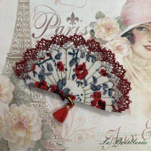 Broche Abanico Flores Rojas - Encajes Artesanos - El Arte al alcance de tus manos