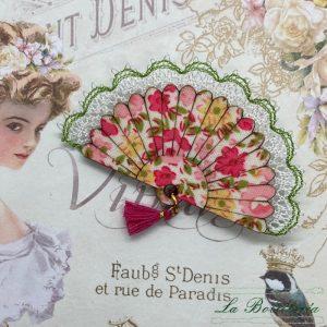 Broche Abanico Romántico Rosas - Encajes Artesanos - El Arte al alcance de tus manos