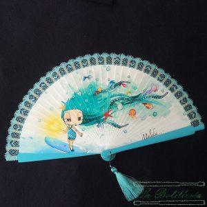 Abanico Muñeca en Verano Azul - Encajes Artesanos - El Arte al alcance de tus manos