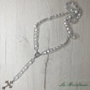 Rosario Corazón de Nácar - Encajes Artesanos - El Arte al alcance de tus manos