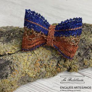 Anillo Lazo Azul y Naranja - Encajes Artesanos - El Arte al alcance de tus mano
