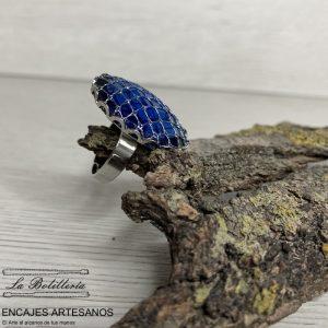 Anillo Ovalado Azul - Encajes Artesanos - El Arte al alcance de tus mano
